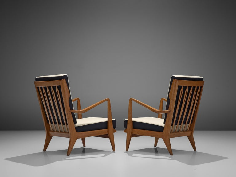Italian Gio Ponti for Cassina Pair of Armchairs Model 516 in Walnut For Sale