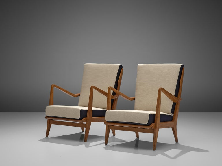Mid-20th Century Gio Ponti for Cassina Pair of Armchairs Model 516 in Walnut For Sale