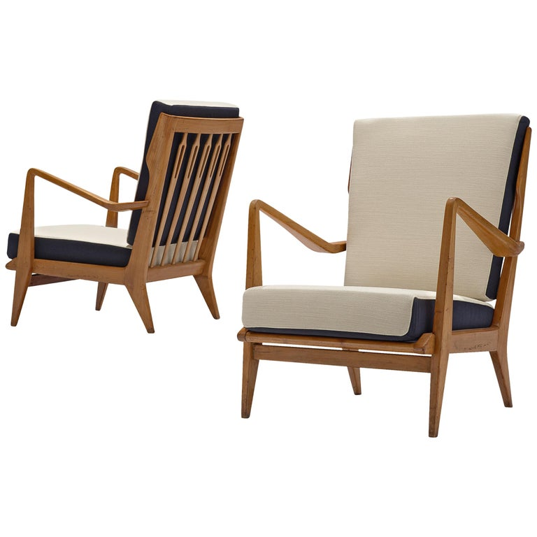 Gio Ponti for Cassina Pair of Armchairs Model 516 in Walnut For Sale