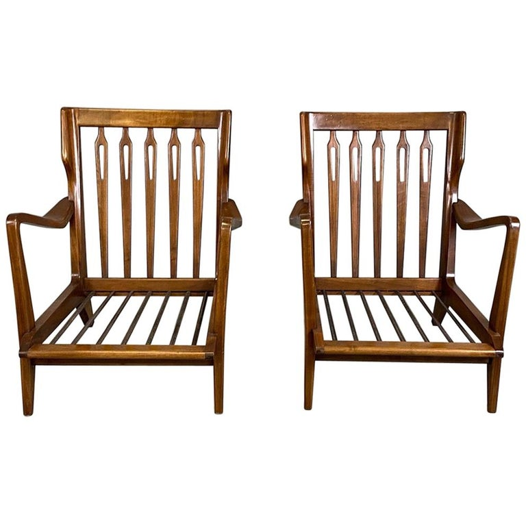 Gio Ponti for Cassina Pair of Walnut Armchairs Model 516 For Sale