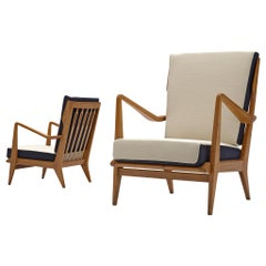 Gio Ponti for Cassina Reupholstered Pair of 'Model 516' Lounge Chairs in Walnut