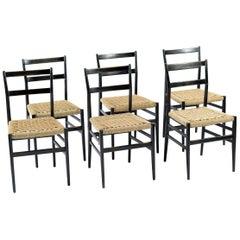 Gio Ponti for Cassina Six Black Wood and Braided Straw Leggera Chairs, 1950s