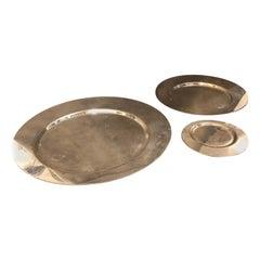 Gio Ponti for Cleto Munari Set of Three Silver Plated Plates, circa 1970