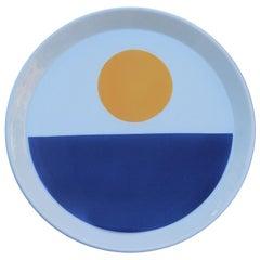 Gio Ponti For Franco Pozzi Plate Ceramic Italian Design Blu and Yellow, 1970