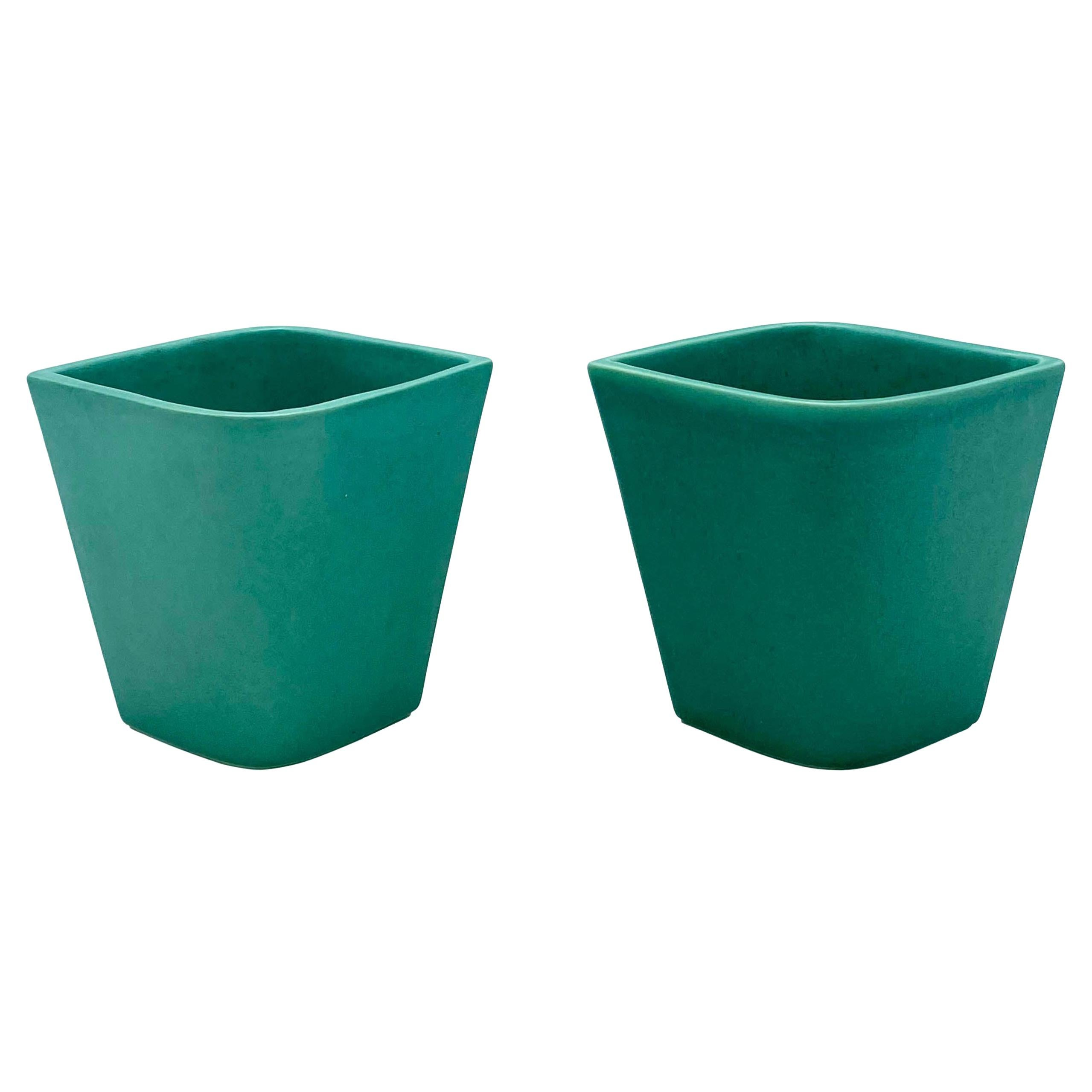 Gio Ponti for Ginori Pair of Green Ceramic Little Vases, Italy 1930s