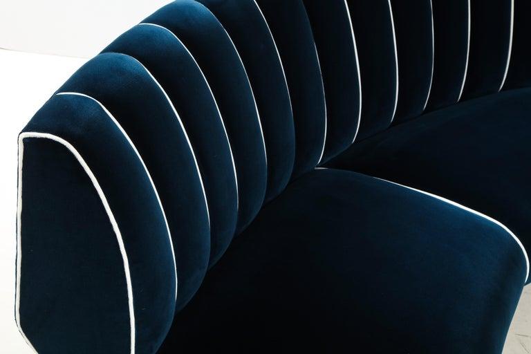 Giulia Veronesi for ISA Bergamo Rare Curved Channel Back Sofa in Navy Velvet For Sale 8