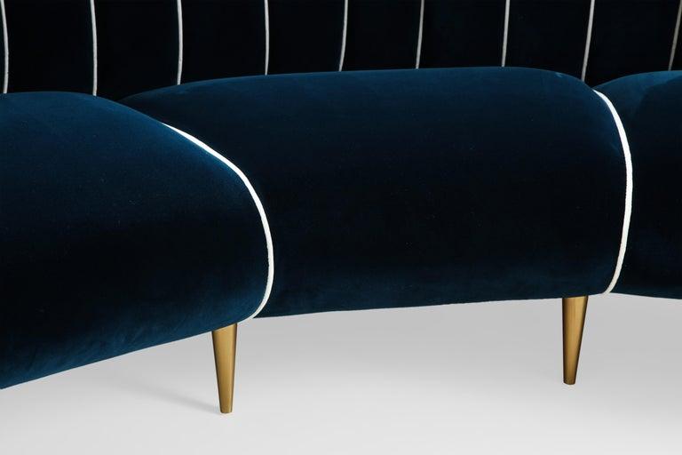 Giulia Veronesi for ISA Bergamo Rare Curved Channel Back Sofa in Navy Velvet For Sale 10