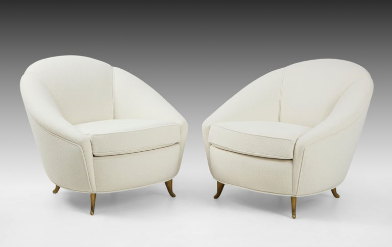 Mid-Century Modern Gio Ponti for ISA Pair of Bouclé Armchairs For Sale