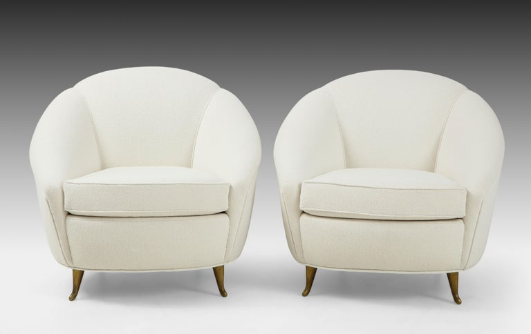 Italian Gio Ponti for ISA Pair of Bouclé Armchairs For Sale