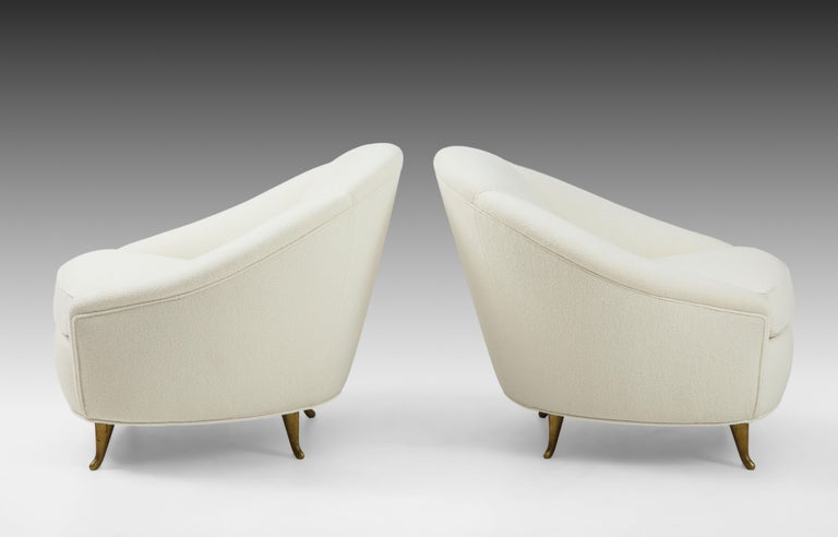 Gio Ponti for ISA Pair of Bouclé Armchairs In Good Condition For Sale In New York, NY