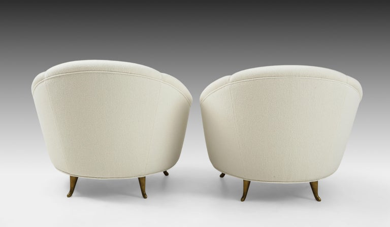 Mid-20th Century Gio Ponti for ISA Pair of Bouclé Armchairs For Sale