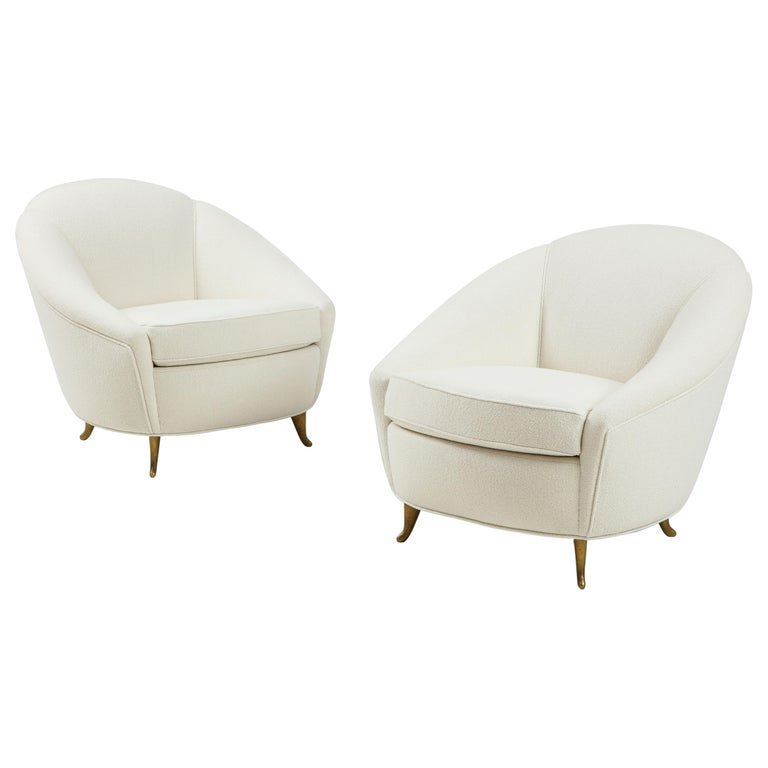 Gio Ponti for ISA Pair of Bouclé Armchairs For Sale
