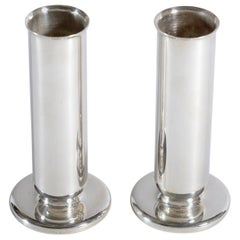 Gio Ponti for Krupp Milano Silver Plate Alpacca Pair of Vases or Candlesticks