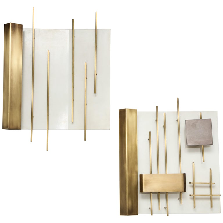 "Gio Ponti for Lumi Pair of First Edition ""Quadri Luminosi"" Sconces For Sale"