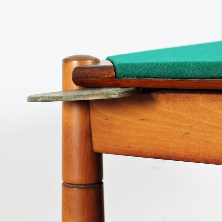 Gio Ponti for Reguitti Square Tilting Wood Poker Table, Italy, 1958 For Sale 4