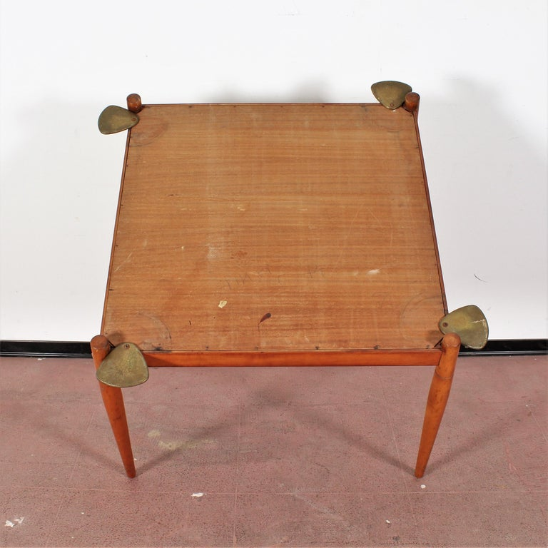 Gio Ponti for Reguitti Square Tilting Wood Poker Table, Italy, 1958 For Sale 5