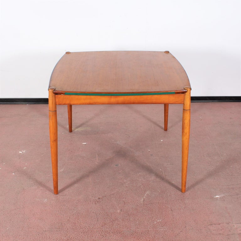 Gio Ponti for Reguitti Square Tilting Wood Poker Table, Italy, 1958 For Sale 10