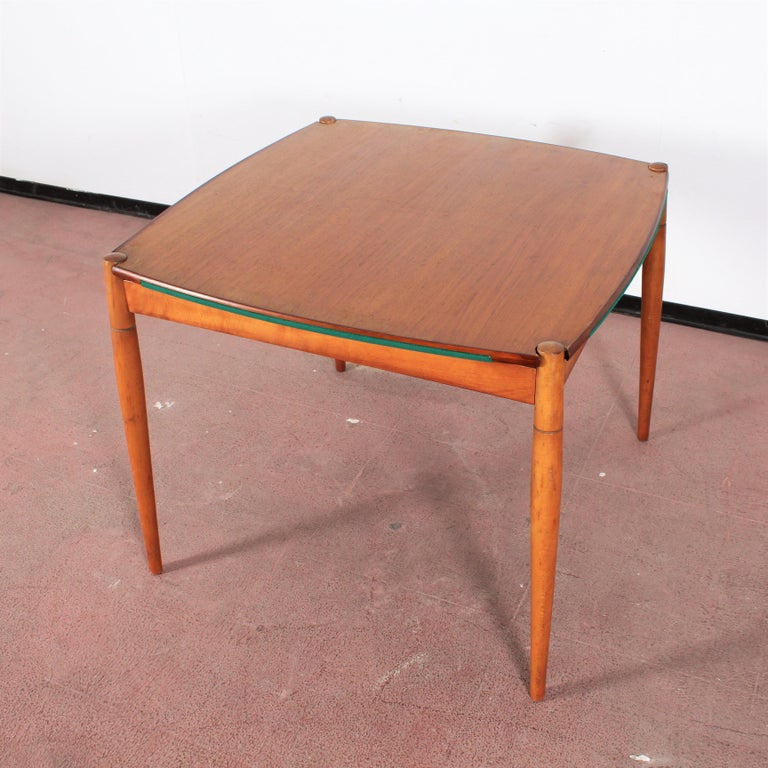 Gio Ponti for Reguitti Square Tilting Wood Poker Table, Italy, 1958 For Sale 11