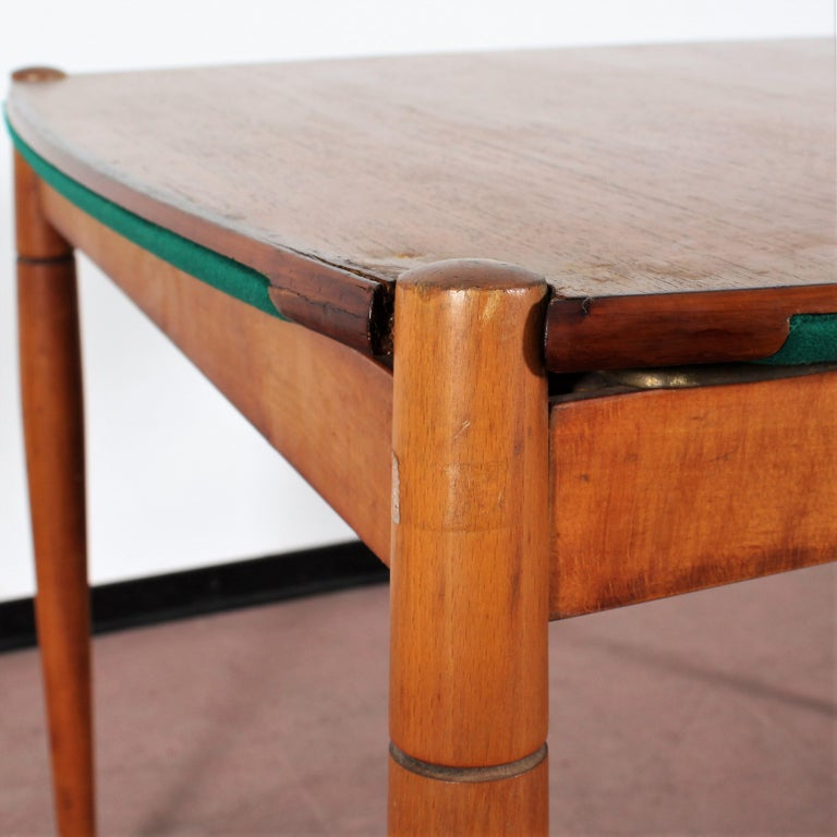 Gio Ponti for Reguitti Square Tilting Wood Poker Table, Italy, 1958 For Sale 13