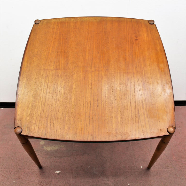 Gio Ponti for Reguitti Square Tilting Wood Poker Table, Italy, 1958 For Sale 14