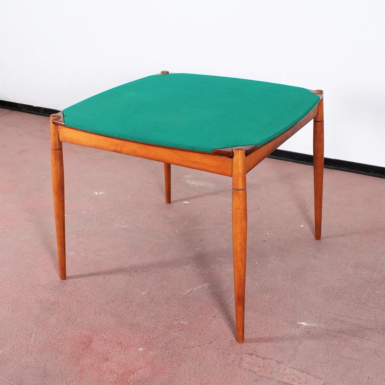 Mid-Century Modern Gio Ponti for Reguitti Square Tilting Wood Poker Table, Italy, 1958 For Sale