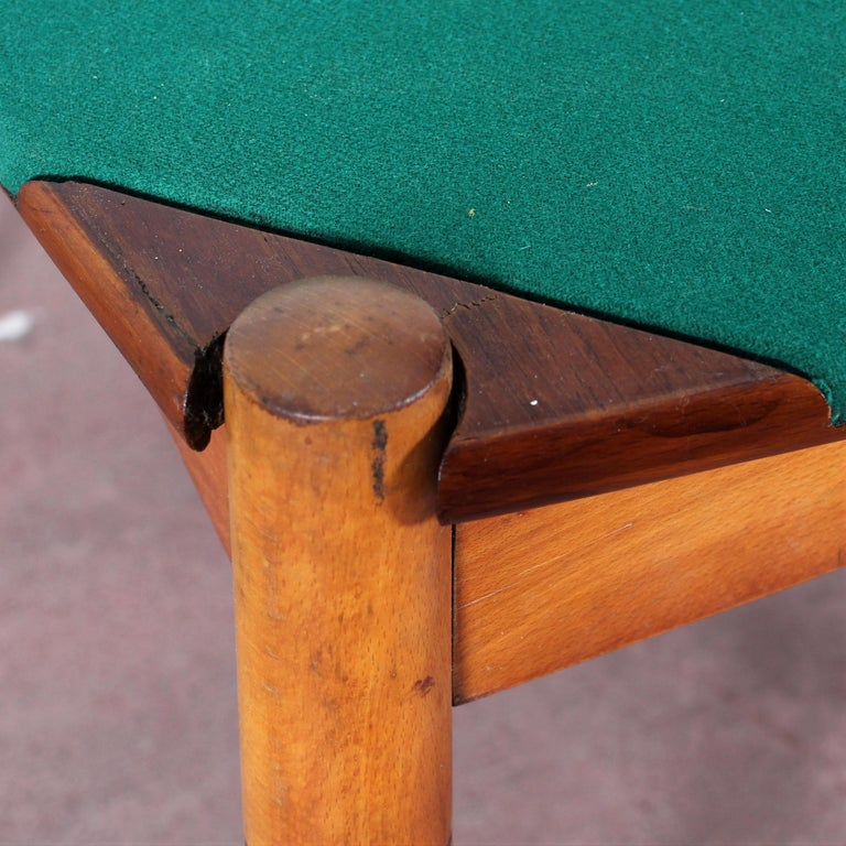 Italian Gio Ponti for Reguitti Square Tilting Wood Poker Table, Italy, 1958 For Sale