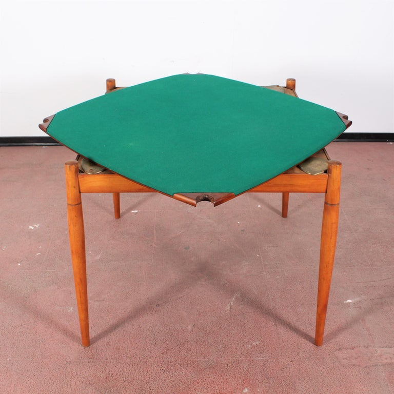 Gio Ponti for Reguitti Square Tilting Wood Poker Table, Italy, 1958 In Good Condition For Sale In Palermo, IT