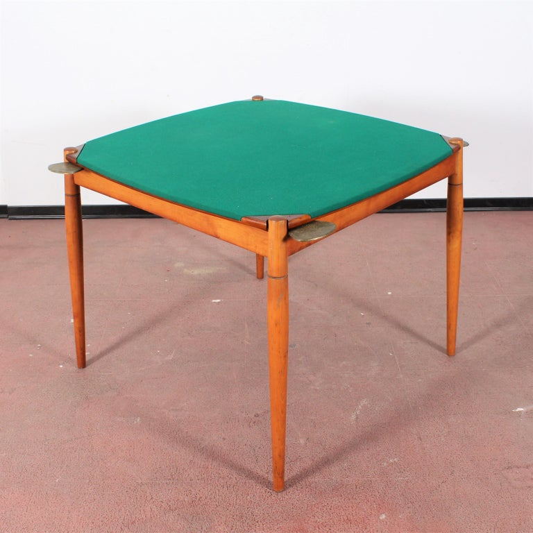 Gio Ponti for Reguitti Square Tilting Wood Poker Table, Italy, 1958 For Sale 3