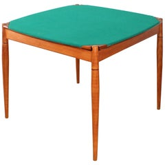 Giò Ponti for Reguitti Square Tilting Wood Poker table Italy 1958