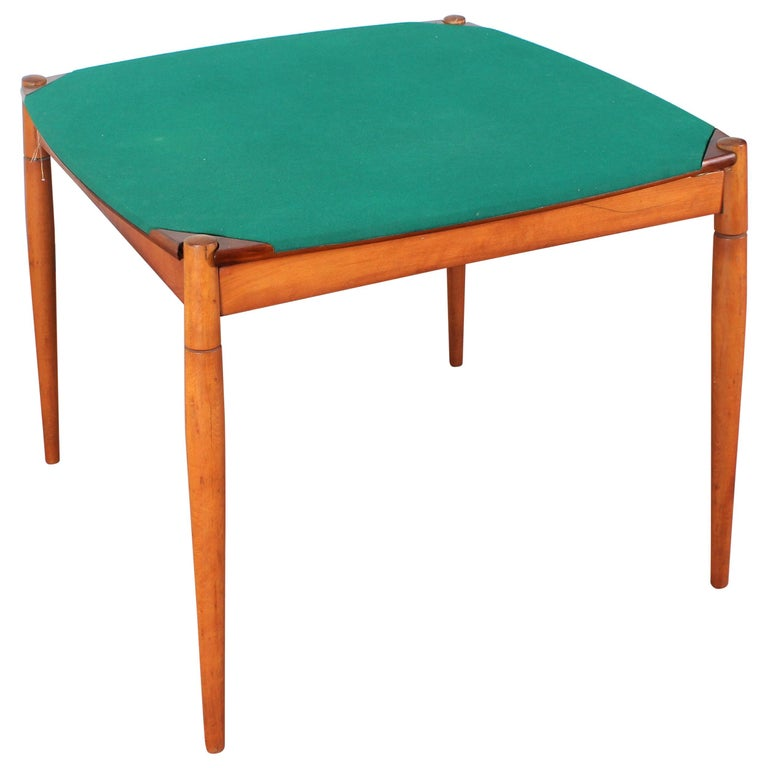 Gio Ponti for Reguitti Square Tilting Wood Poker Table, Italy, 1958 For Sale