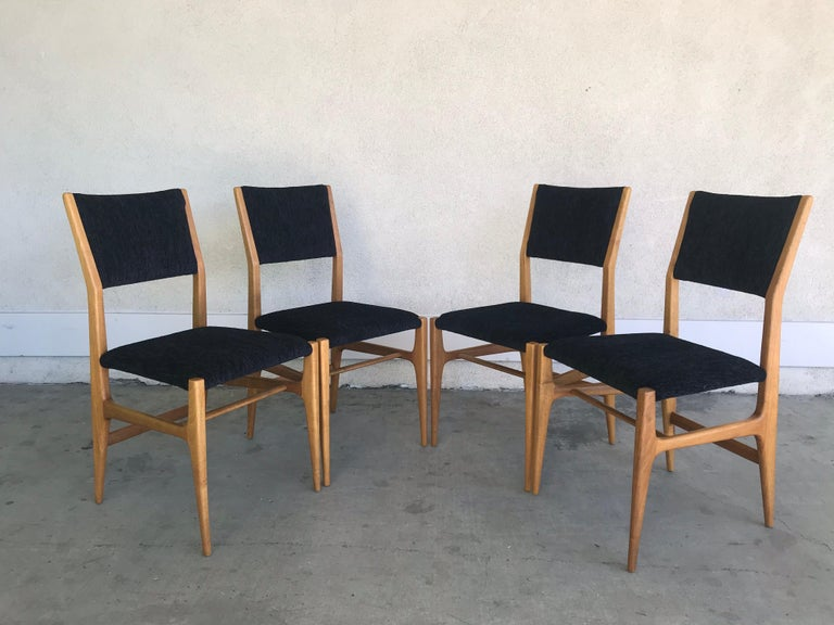 Mid-Century Modern Gio Ponti Four Dining Chairs, 20th Century For Sale