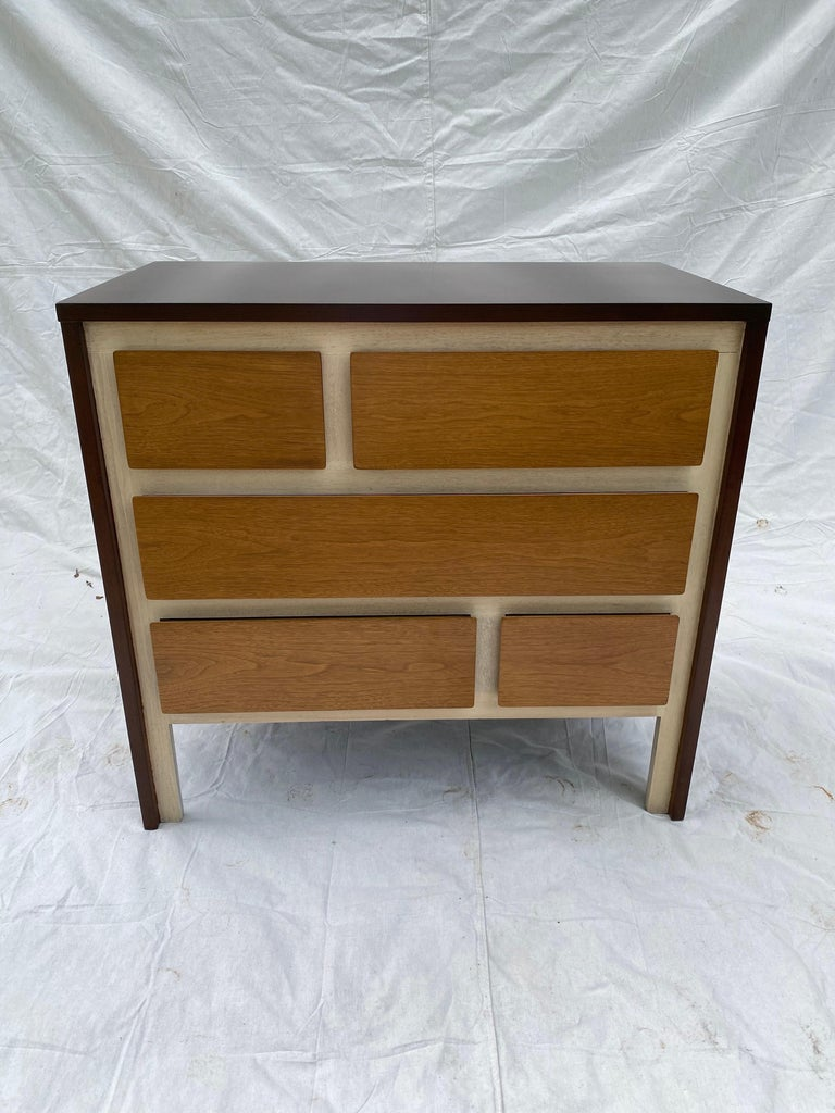 Henredon Furniture 5-drawer dresser. Gio Ponti Inspired dresser, done in the style of his Singer Furniture Line. I've searched high and low and found no other piece quite like it! Probably late 1950s, refinished to showcase the dimensional design of