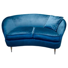 Gio Ponti Italian Two Seater Curved Sofa in Blue Velvet with Brass Legs