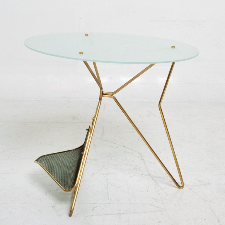 Mid-Century Modern Gio Ponti Italy Artful Italian Brass Side Table with Green Magazine Holder 1950s For Sale