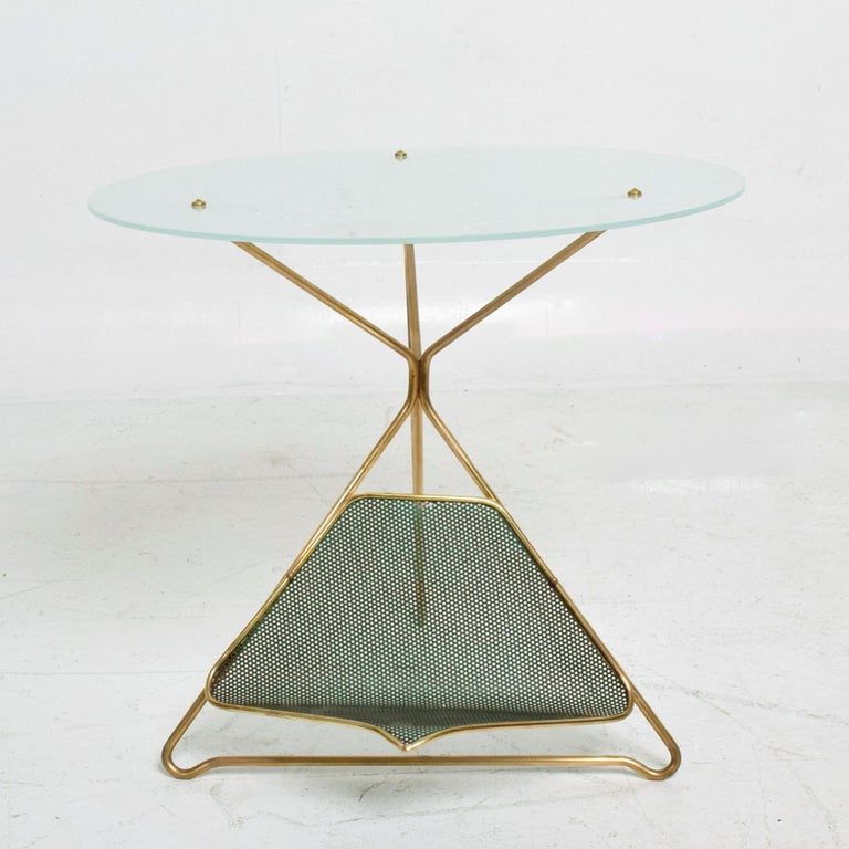 Mid-20th Century Gio Ponti Italy Artful Italian Brass Side Table with Green Magazine Holder 1950s For Sale