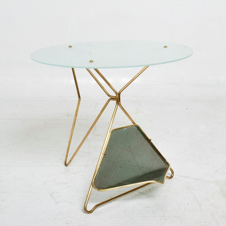Metal Gio Ponti Italy Artful Italian Brass Side Table with Green Magazine Holder 1950s For Sale