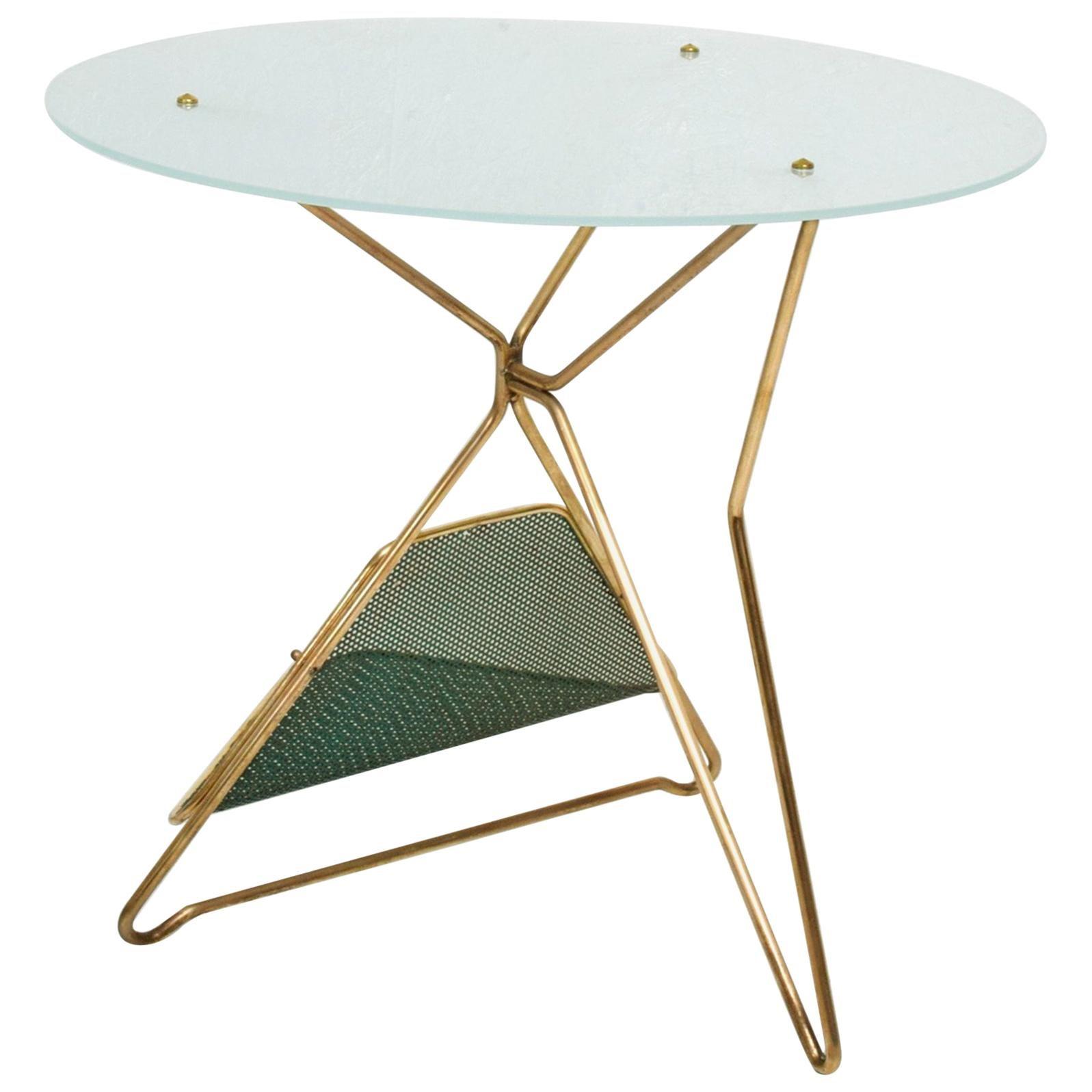 Gio Ponti Italy Artful Italian Brass Side Table with Green Magazine Holder 1950s