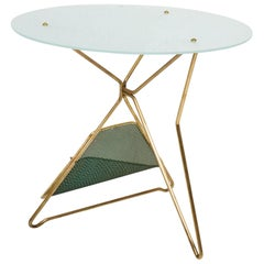 Gio Ponti Italy Artful Italian Brass Side Table with Green Magazine Holder 1950s