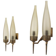 Gio Ponti Italy Brass Crown and Tapered Glass Candelabra Wall Sconce Set 1950s
