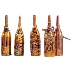 Gio Ponti Le Bottiglie Abitate Complete Series of Five Ceramic Bottles, 1950
