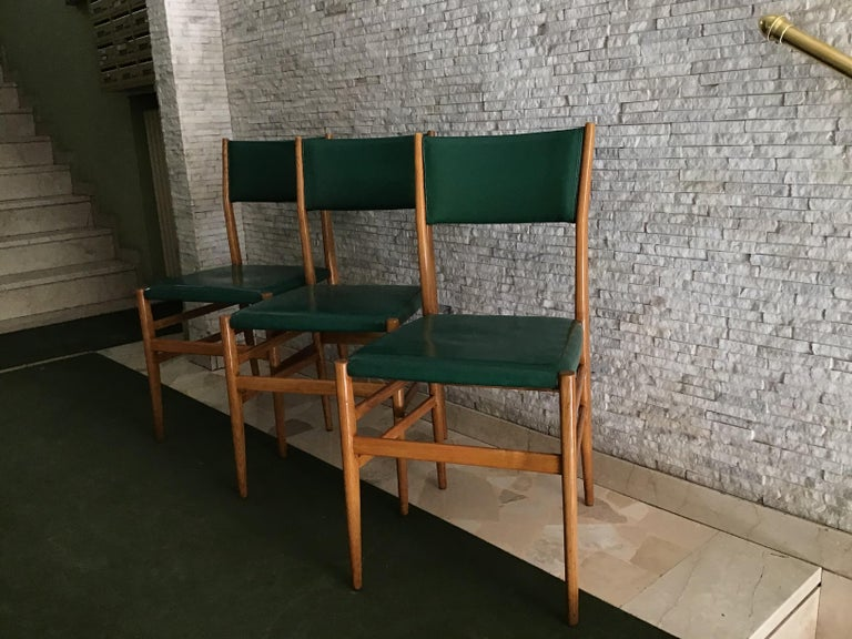 "Gio Ponti ""Leggera"" Chairs by Cassina 1951 Wood Original Coating, Italy In Good Condition For Sale In Milano, IT"
