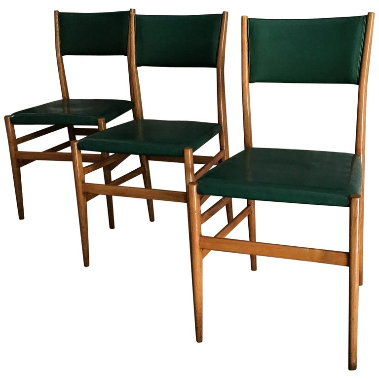 "Gio Ponti ""Leggera"" Chairs by Cassina 1951 Wood Original Coating, Italy For Sale"