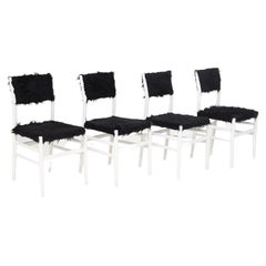 Gio Ponti Leggera Chairs Set of Four in White Wood and Black Synthetic Fur