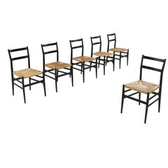 Gio Ponti Leggera Dining Chairs Black and Cord