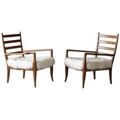Gio Ponti, Lounge Chairs for La Rinascente, Ash, Rush, Lambskin, 1930s, Italy