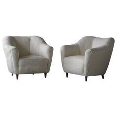 Gio Ponti, Lounge Chairs, White Fabric, Walnut, Casa E Giardino, Italy, 1930s