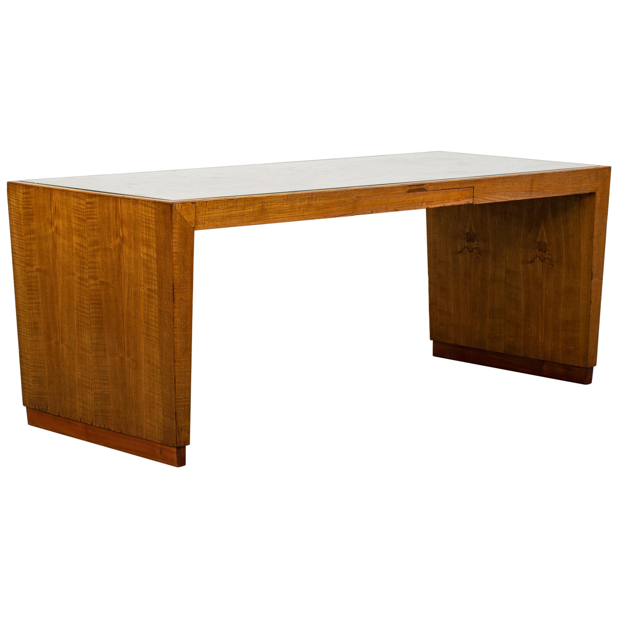 Gio Ponti Low Table in Wood and Glass for Banca Nazionale del Lavoro, 1950