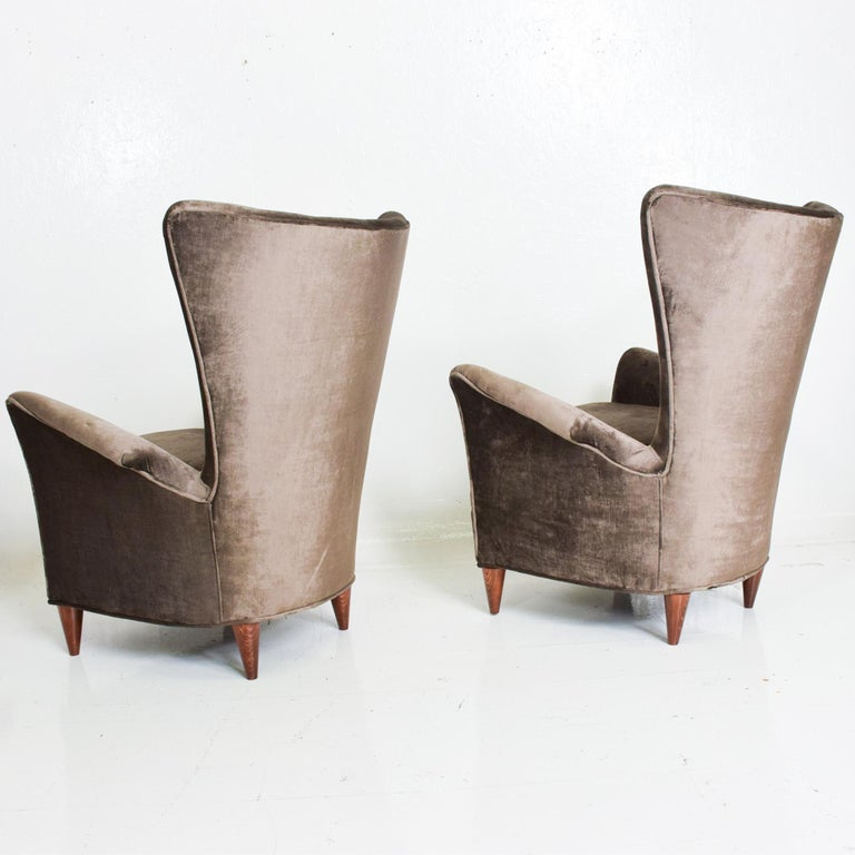 Gio Ponti Luxury Lounge Arm Chair Pair from Hotel Bristol Merano, Italy 1950s In Good Condition For Sale In National City, CA