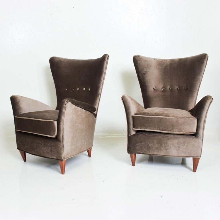 Velvet Gio Ponti Luxury Lounge Arm Chair Pair from Hotel Bristol Merano, Italy 1950s For Sale