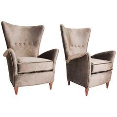 Gio Ponti Luxury Lounge Arm Chair Pair from Hotel Bristol Merano, Italy 1950s